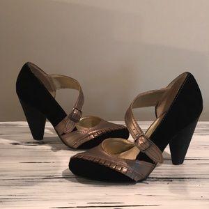 Seychelles black & gold strap heels